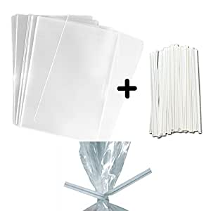 """100 3x4"""" Clear Food Safe Favor Treat Bags and 4"""" Paper Twist Ties - 1.5mils Thickness- PP Plastic Stronger than Cello Party Wedding Bags Gift Basket Supplies Valentine's Day Candy Bag"""