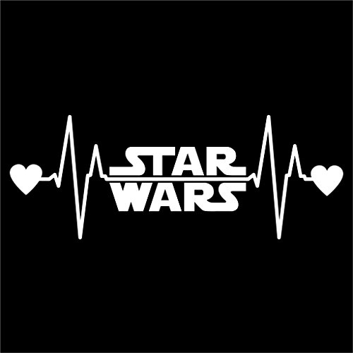 Star Wars Heartbeat Vinyl Decal Sticker | Cars Trucks Vans Walls Laptops Cups | White | 7.5 X 2.8 Inch | KCD1174 -