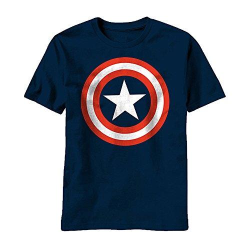 Marvel Captain America Men's 80's Captain T-Shirt, Navy, Medium