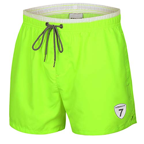 LANYI Mens Swim Trunks Quick Dry Surfing Swimming Shorts Swimwear Mesh Lining Bathing Suits with Pockets (Fluorescent Green, S)