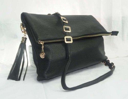 "In Style ""93"" Designer Inspired Crossbody Chain Bag (Black), Bags Central"