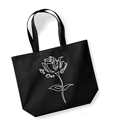Be Our Guest - Large Canvas Fun Slogan Tote Bag Black/White