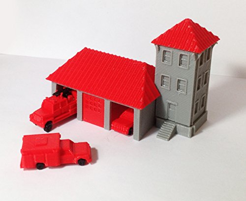 (Outland Models Train Railway Country Fire Station with 3 Fire Trucks N Scale)