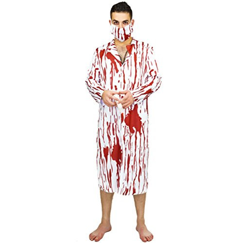 LUOEM Halloween Horror Costume Adult Cosplay Male Surgeon's Suit Jumpsuit Mask Stethoscope with Blood for Best Halloween Party Favor ,Pack of 3 ()