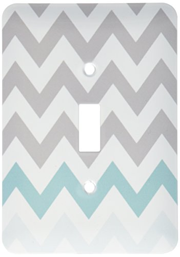 3dRose lsp_179811_1 Grey Chevron with Mint Turquoise Zig Zag Accent Gray Zigzag Pattern Light Switch Cover