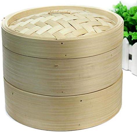 Mnjin Usage Domestique 2 Niveaux Bambou Vapeur Ensemble Chinois Cuisine Ustensiles de Cuisine avec Couvercle Poisson Riz Légumes Dim Sum Riz Panier