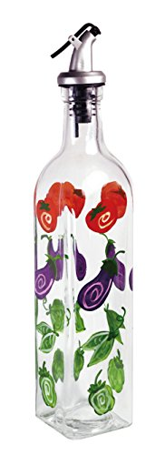 - Grant Howard Whimsical Veggies Glass Hand Painted Oil and Vinegar Cruet, 16 oz, Multicolor