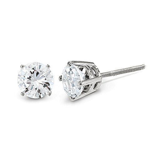 14k White Gold 1.00ct Si3 G I Diamond Stud Thread On/off Post Earrings St Type Fine Jewelry Gifts For Women For Her