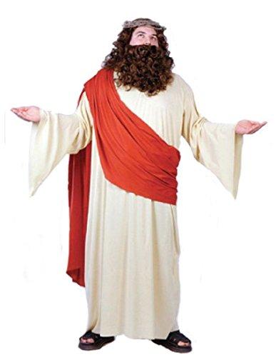 FunWorld Men's Plus Jesus Costume, Cream/Red, Plus Size -