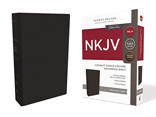 NKJV, Compact Single-Column Reference Bible, Genuine Leather, Black, Comfort Print: Holy Bible, New King James Version