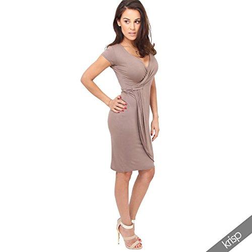 KRISP Vestido Mujer Corto Manga Corta Ajustado Punto Elegante Tallas Grandes Moca