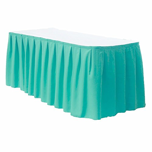 ADD&SHIP Polyester Table Skirt Polyester (21 ft) | Very Elegant & Durable Table Skirt | Skirting Cover for Weddings, Birthdays, Baby Showers, Slumber Party, Girl Princess & Other Events (Tiffany Blue) - Polyester 21' Table Skirt