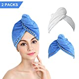 Bleaching Hair Experience - Microfiber Hair Towel Wrap, Duomishu Super Absorbent Anti-Frizz Hair Turban Wrap Fast Drying Hair Cap with Buttons for Women Girls Mom Daughter, 2 Pack (White/Blue)