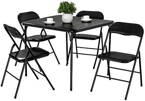 Amazing Amerlife Folding Table And Chairs 5 Piece Padded Seat Square Card Table And Chairs Set With Locking Legs Multipurpose Dining Game Table Portable And Andrewgaddart Wooden Chair Designs For Living Room Andrewgaddartcom