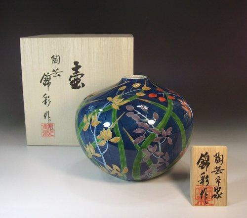 有田焼伊万里焼の陶器花瓶|高級贈答品|ギフト|記念品|贈り物|蘭絵陶芸家 藤井錦彩 B00IICT6P2
