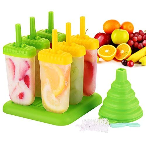 Popsicle Molds - IKICH Set of 6 Ice Pop Molds Makers - BPA Free & FDA Certified & Food Safe - Reusable Easy-Release Ice Cube Tray Molds Drip-Guard Handle with Folding Funnel and Cleaning Brush