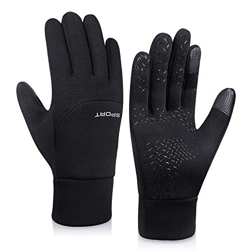 Lapulas Winter Gloves for Mens Womens Running Gloves Thermal Touchscreen Windproof Warm for Cycling Riding Driving Climbing Black