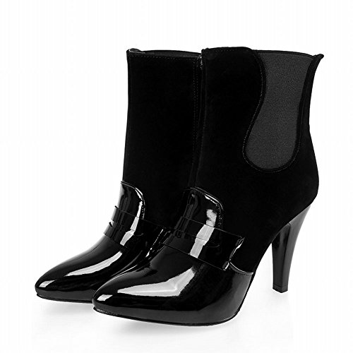Show Shine Women's Sexy High-heel Stiletto Patent Leather&Nubuck Mid-calf Boots Black yEokIKc7