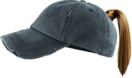 H-216-S06 Distressed Trucker Washed Dad Hat Messy Bun Baseball Pony Cap - Black