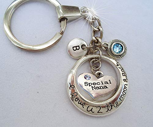 (Special Nana I Love U 2 the Moon and Back Keychain or Zipper Pull with Swarovski Birthstone Crystal and Letter Charm of Your Choice * Crafted with lOve!)