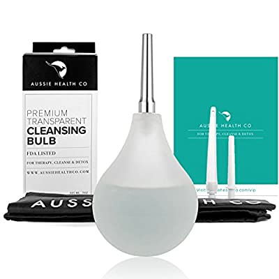 Clear Non-Toxic Enema Bulb - 7oz Anal Douche Kit (BPA & Phthalates Free) For Home Water + Coffee Colon Cleansing, Detox and Constipation Relief. Stainless Steel Tip with Bonus Storage Bag.