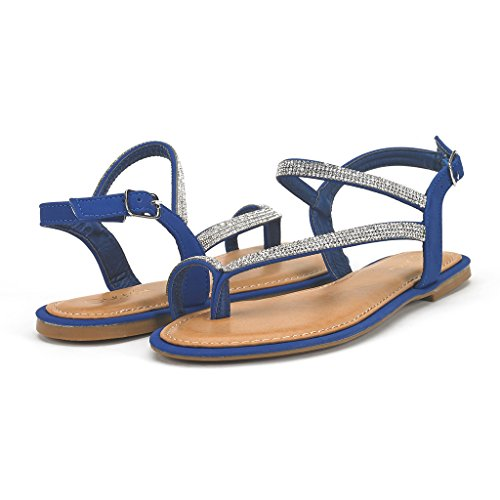 Sandals Strap Blue - DREAM PAIRS ATLAS Women's Elegant Gladiator Rhinestone Ankle Strap Toe Ring Flat Sandals Royal Blue Size 9