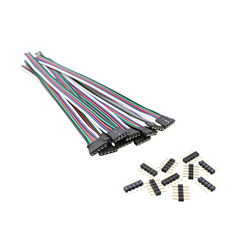 5 Pin RGBW Led Connector Extension Wire with 5 Pin Conenctor, SIM&NAT 15 cm/5.9 inch RGBW RGBWW Connector Plug Weld Line Male Female Plug Cable for SMD 5050 Led Strip