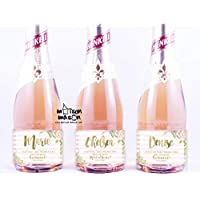 PERSONALIZED Floral and Stripes Will you be my Bridesmaid, Will you be my Maid of Honor mini champagne or mini wine labels, SET OF 10