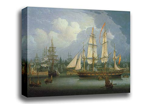 - Canvas Print Wall Art - Four-Masted Clipper Ship in Liverpool Harbour - by Robert Salmon - Gallery Wrapped - 18x12 inch