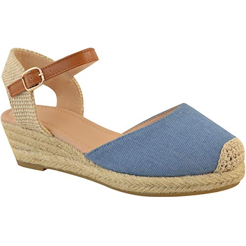 (Fashion Thirsty Womens Mid Heel Wedge Espadrilles Summer Sandals Casual Holiday Size (10 US, Mid Blue)