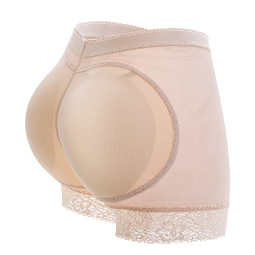 KIWI RATA Womens Seamless Butt Lifter Padded Lace Panties Enhancer Underwear,Nude,XXX-Large