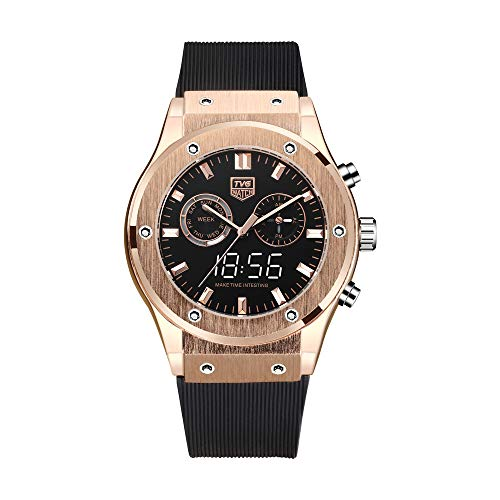 Luxury Watch TVG Waterproof Dual Display Watch Noble Rose Gold Color Matching Silicone Strap.