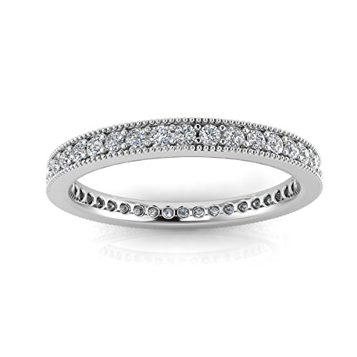 Jewelry Pop Up Shop Round Brilliant Cut Diamond Pave & Milgrain Set Eternity Ring In 14k White Gold (0.3ct. Tw.) Ring Size 5.5, 2.8MM (0.3 Ct Tw Diamonds)