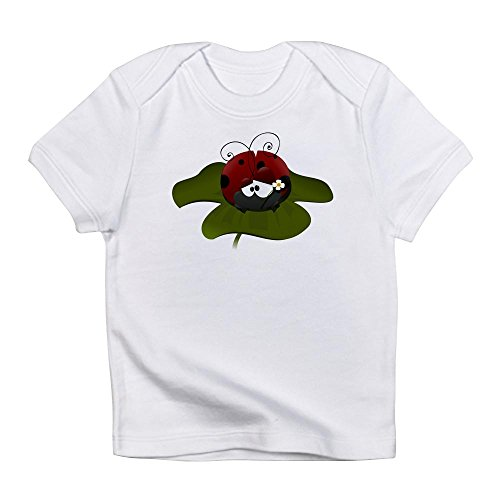 Ladybug Organic Baby T-shirt - Truly Teague Infant T-Shirt Cute Little Lady Bug Sitting On a Clover - Cloud White, 6 To 12 Months