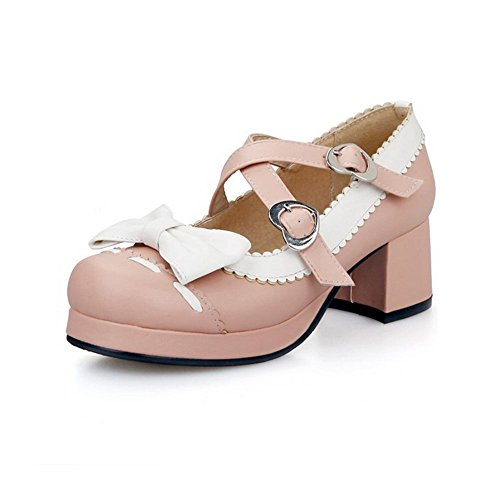 AllhqFashion Womens Assorted Color PU Kitten Heels Square Closed Toe Buckle Pumps-Shoes Pink BV8HPCQFu