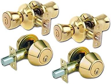 Lion Locks lico0709 Tulip estilo llave maestra Conjunto de Seguridad y tirador de puerta, latón pulido, 2-pack: Amazon.es: Bricolaje y herramientas