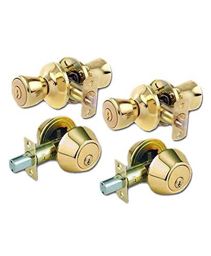 Tulip Style Keyed Alike Door Knob and Deadbolt Set, Polished Brass, 2-Pack ()