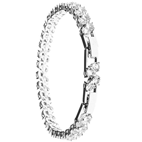 Best Gift for Loved One, Elegant 18K White Gold Plated Tennis Bracelet Made with Premium Crystals by Matashi, Perfect Gift for Birthday, Mothers Day (Two (Heart Tiffany Style Key Ring)