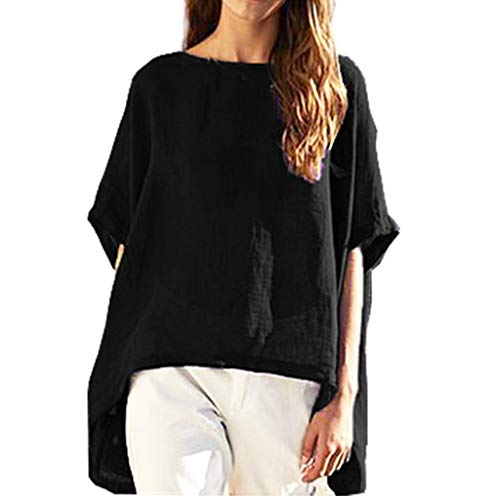 Women Plus Size Cotton and Linen Tee Shirts, Boat Neck Short Sleeve Irregular Hem Summer Loose t-Shirts Blouse Tops(Black, L) (Beste Tri Top)