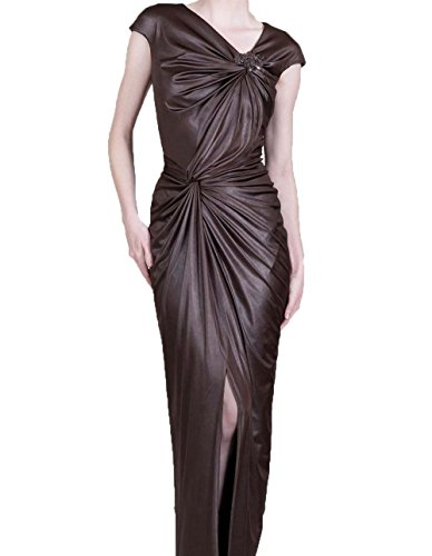 Tadashi Shoji Women's Metallic Cap Sleeve Jersey Dress, Brown, Size M