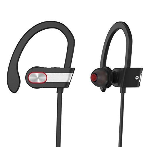 Sports Silver Headphone (XPLUS Bluetooth Headphones, Bluetooth Earphones with Mic Bass Noise Cancelling, New Trent Bluetooth Sport HD Stereo Headset In-ear Earbuds Earphones with Flexible Ear Hooks (Black) (Q7G) (Q7S))