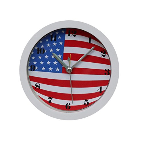 Modern Dial Watch Multifunction (Yeefant Silent Sweep American Flag Pattern Modern Graceful Bell Desk Creative Digital Alarm Quartz Clock Cute Portable Clock Decor for Living Room Bedroom,White)