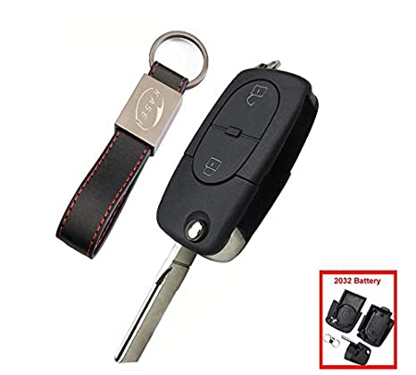 Carcasa Llave para Audi - Funda Mando a Distancia 2 Botones para Coche Audi A2 A3 A4 A6 A8 TT Q3 Q5 Q7 (2030 Battery)