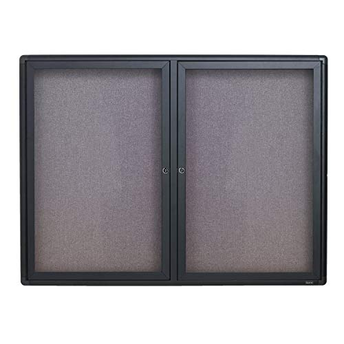 Quartet Enclosed Fabric Bulletin Board, 4 x 3 Feet, 2 Doors, Black Frame with Gray Fabric (2364L)