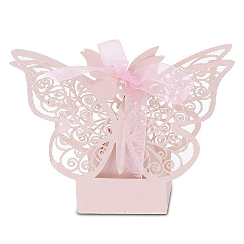 Zerodis 100 PCS Wedding Favor Box Multi-Color Cube Butterfly Candy Box Sugar Chocolate Foldable Boxes for Birthday Wedding Party Favor(Pink) ()