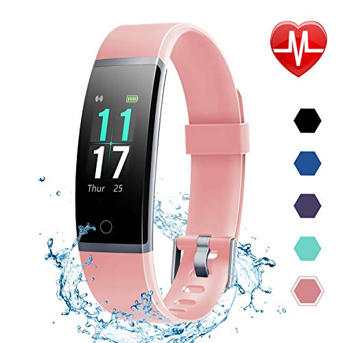 LETSCOM Fitness Tracker HR, Color Screen Activity Tracker with Heart Rate Monitor and Sleep Monitor, IP68 Waterproof Pedometer Watch, Step Counter, Calorie Counter for Women Men Kids ()