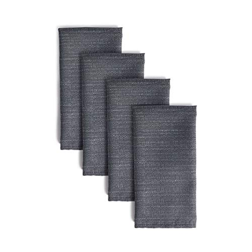 Town & Country Living Harper Solid Textured Fabric Napkins, Water and Stain Resistant, Set of 4, Grey Flannel (Harper Grey)