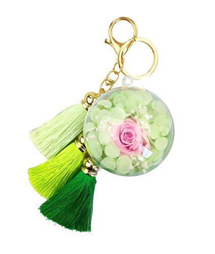 Handmade Preserved Fresh Flower Rose keychain Novelty Preserved Rose Keychain Handbag and Purse Pendant Charm with Tassels and Rabbit Fur Pom Pom in a…
