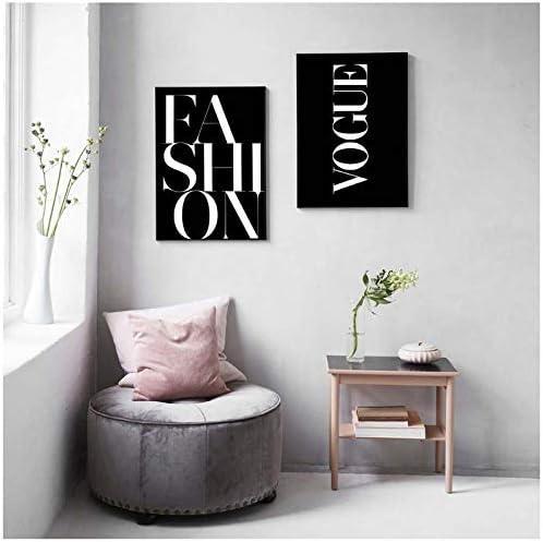 Zhaoyangeng 黒と白のポスターキャンバス絵画ファッションウォールアートポスタープリントヴォーグ写真リビングルーム装飾インテリア-40×60センチ×2フレームなし