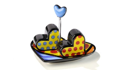 Romero Britto Heart Salt & Pepper Shakers with Heart Plate by Giftcraft